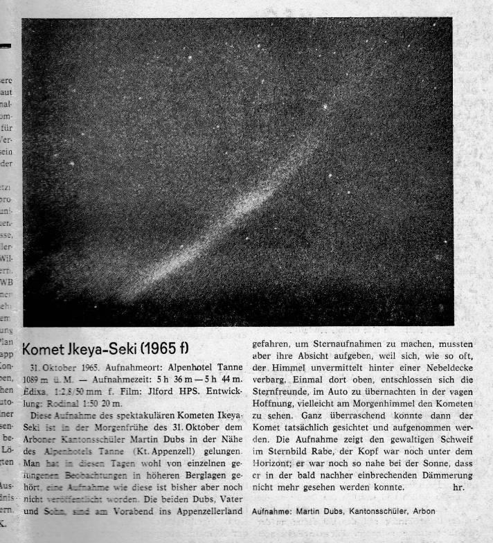 Comet Ikeya Seki 1965 Thurgaur Arbeiter Zeitung