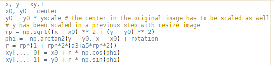 orthographic transformation code
